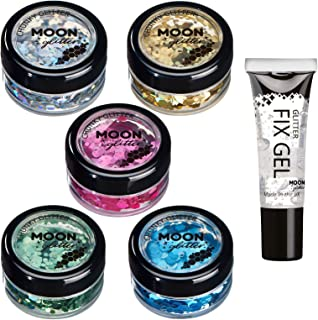 Brillo Holográfico Grueso por Moon Glitter – 100% Brillo Cosmético para la Cara, Cuerpo, Uñas, Cabello y Labios - 3g - Set de 5 colores