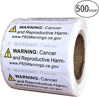 Prop 65 California Warning Labels 500 Count Roll | .5 by 1.5 Inch Size | Perfect for Products and Consumer Alerts | CA 2019 Edition Notice Stickers for Cancer and Birth Defects