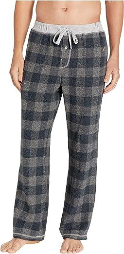 Melange Buffalo Check Flannel Pajama Pants with Heather Trim