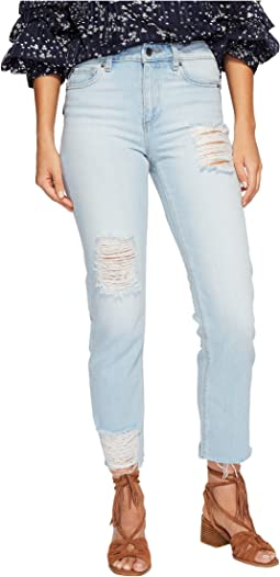 Five-Pocket Straight Leg Jeans with Rips in Corsica Wash