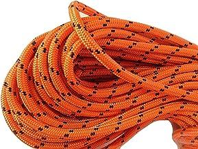 """طناب طناب دار Rigging ، مشکی و نارنجی پلی استر دو بافته شده با رزولوشن 1/2 """"X 150 '"""