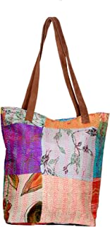 IndiWeaves Womens Silk Kantha Work Leather Handle Handmade Tote Bag, Top Handle Shoulder Bag -Purple/White/Purple