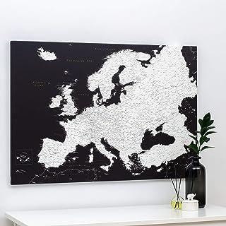 Cartina Geografica dell'Europa - Dettagliato Mappa Sughero con Puntine - Nero e Bianco - Stampa su Tela - Diario di Viaggi...