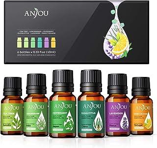 Anjou Huiles Essentielles Aromathérapie 6 * 10ml 100% Pures et Naturelles BIO, Adaptées aux Diffuseurs, Massage, Soins Pea...