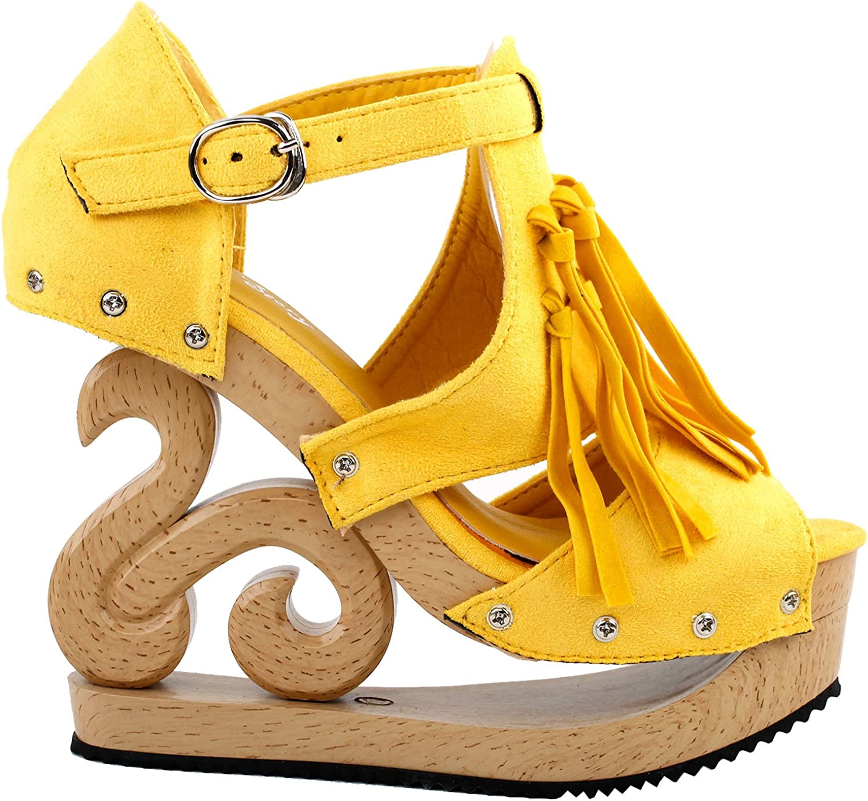 Show Story Women's Western Fringe Tassel Wooden Look Wedges Platform Clogs Sandals,LF30837