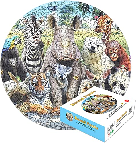 new arrival Puzzles for Adults 1000 Piece, Round Puzzles for Adults and Kids, 1.2MM Wooden Jigsaw Puzzle lowest Pieces, Animal online sale World, Challenging Floor Puzzle DIY Collectibles Home Decoration Educational Games outlet sale