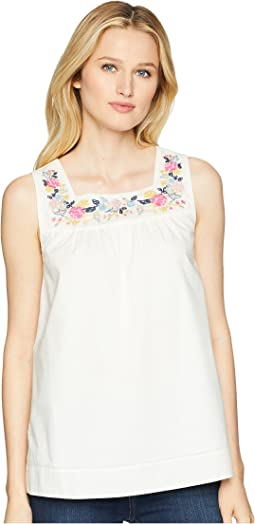 Carlie Sleeveless Top with Embroidered Panel
