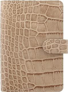 Filofax Classic Croc Print Leather Organizer Agenda Calendar with DiLoro Jot Pad Refills (Personal, Fawn 2019, 026012)