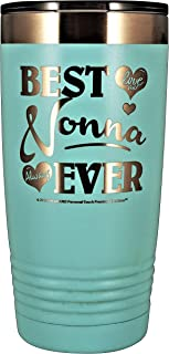 "NONNA GIFT – ""BEST NONNA EVER ~ LOVE YOU"" Stainless Steel Vacuum Insulated Tumbler Travel Coffee Mug GK Grand Designed & Engraved Hot Cold Birthday Mother's Day Christmas (Pastel Teal, 20oz)"
