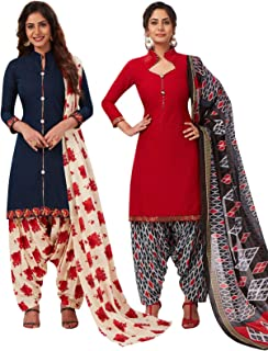 S Salwar Studio women's Cotton Printed Readymade salwar suit set pack of 2 combo