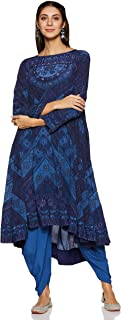 Round Back Full Sleeve Long Printed Kurta With Solid Dhoti Pants