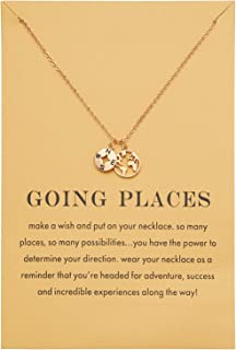 Dainty World Map Compass Pendant BFF Necklace for Best Friend Graduation Gift Real Gold Plated