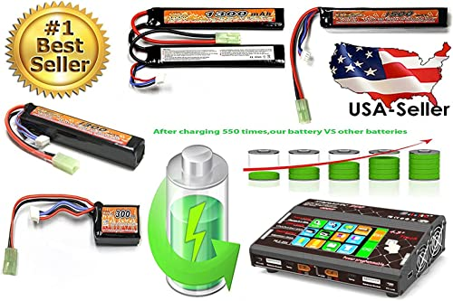 MaximalPower nouveau LiPo Lithium Polymer Airsoft AEG PEQ Battery Connector Mini-Tamiya Plug with 16 G wire for RC voitures Airplane Airsoft (200Watts   Charger for Lilon LiPo Life LiHV)