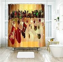 AMDXD Shower Curtain Waterproof Polyester 48x72Inch (120x180CM), Christmas Socks Pine Leaves Balls Stars Bathroom Shower C...