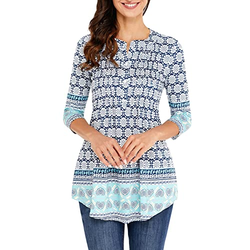 4fcd5e401da9c7 AINCRSO Womens Floral Tunic Tops with 3 4 Sleeves - Long Casual Floral  Shirt Blouse