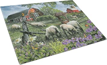 Caroline's Treasures PTW2026LCB Pleasant Valley Sheep Farm Glass Cutting Board, Large, Multicolor
