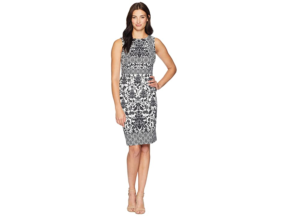 Calvin Klein Printed Sheath Dress CD8C71JT (Black/Cream) Women