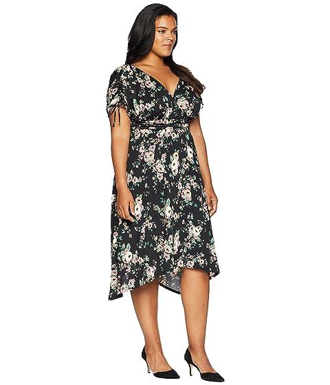con acanalado Vestido estampado Kiyonna de negro floral Tessa qHaxUxSw57