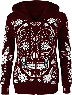 Londony♥‿♥ Women's Comfy Skull Print Zipper Jacket Long Sleeve Cowl Neck Pullover Hooded Sweatshirts Top