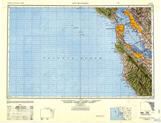 YellowMaps San Francisco CA topo map, 1:250000 Scale, 1 X 2 Degree, Historical, 1947, Updated 1948, 24.1 x 31.5 in
