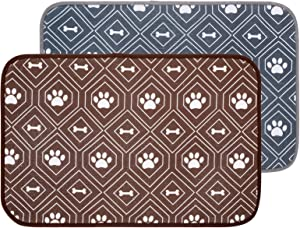 KOOLTAIL Dog Mat for Food and Water Bowls, 2 Pack Waterproof Pet Feeding Mat for Floors, Non Slip Mat for Puppy Cats