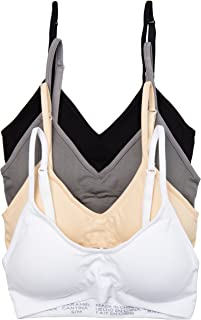 4 Pack V Neck Padded Bralette Adjustable Straps