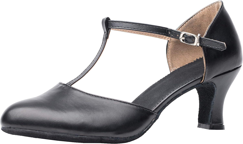 Joocare Women Black Leather T-Strap Latin Ballroom Dance Shoes L