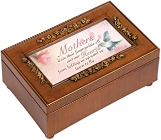 Mothers Leave Their Fingerprints Rose Mom Gift Music Jewelry Box-Plays Wind Beneath My Wings