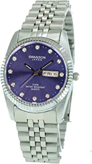 Swanson Men's Stainless Steel Day-Date Watch Purple Dial with Stones with Travel Case