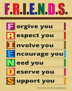 Teach Friendship Anti-Bullying Kindness and Respect to Children with Fully Laminated, Durable Material Rolled and Sealed in Plastic Poster Sleeve for Protection. 17x22