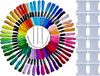 LE PAON 50 Skeins Embroidery Floss & Embroidery Thread of 100%Long-StapleCotton Cross Stitch Threads Friendship Bracelet String Craft Floss with with Free 16pcs Embroidery Tools Kits