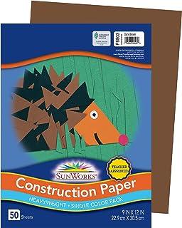 "SunWorks Construction Paper, Dark Brown, 9"" x 12"", 50 Sheets"
