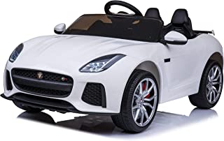 First Drive Jaguar F-Type White 12v Kids Cars - Dual Motor Electric Power Ride On Car with Remote, MP3, Aux Cord, Led Headlights and Rear Lights, and Premium Wheels