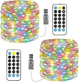 [2 * 12 m] Wróżki światełka wtykowe, TOPYIYI wielokolorowe lampki USB, 11 trybów 120 diod LED łańcuch świetlny z pilotem z...