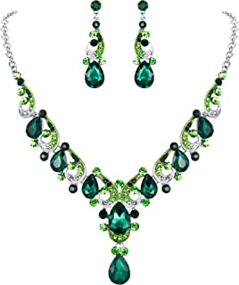 Crystal Gorgeous Wedding Wave Teardrop Necklace Earrings Set for Bride, Women