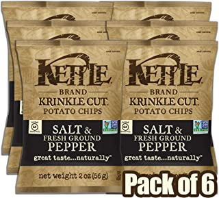 Kettle Brand Potato Chips, Krinkle Cut Salt and Fresh Ground Pepper, 2 Ounce (Pack of 6)