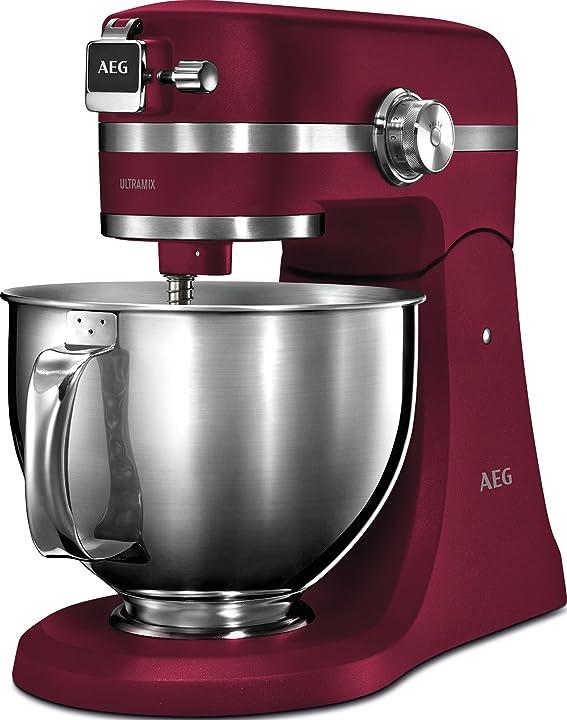 Aeg km 5520 robot da cucina, metallo pieno/acciaio inox, colore: rosso