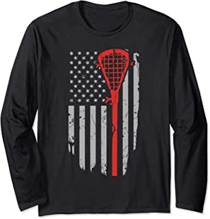 Vintage American Flag Lacrosse Youth Apparel, Boys Men USA Long Sleeve T-Shirt