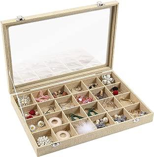 Valdler Sackcloth Clear Lid Jewelry Tray Showcase Display Storage Box (24 Grid Sackcloth Jewelry Box)