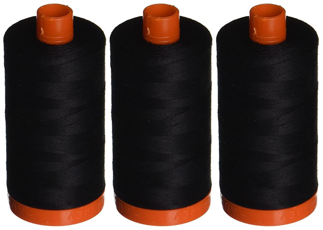 3-PACK - Aurifil A1050-2692 Mako Cotton Thread Solid 50WT 1422Yds Black