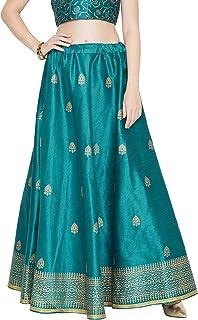 Studiorasa Women's Dupion Block Printed Bias Skirt (SKTOC419169_Rama Green_Freesize)
