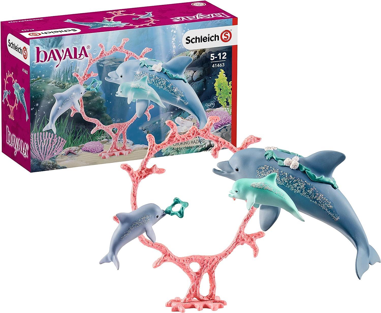 Schleich 41463 bayala play set - Mamá delfín con bebés delfín, juguetes a partir de 5 años