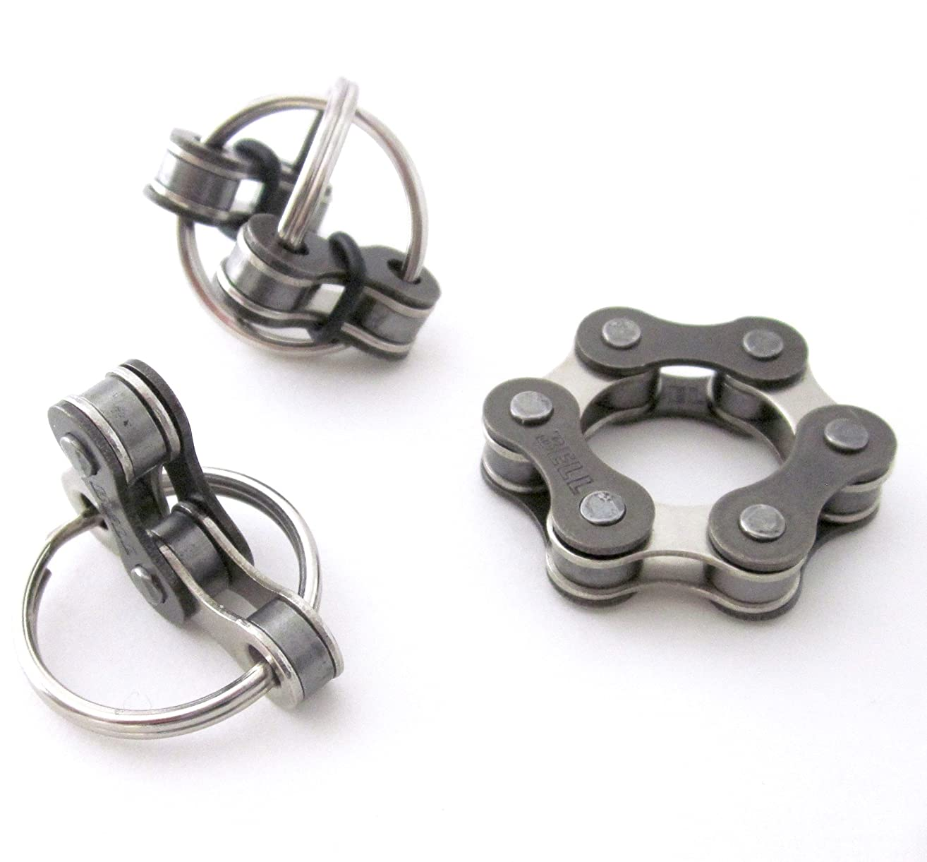 Set of 3 Quiet Fidget Toys for ADHD, Stress Anxiety Relief, Stocking Stuffer,Silver Bike Chain, Pocket Fidget, You choose size 3 or 4 connected links