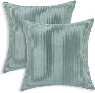 CaliTime Pack of 2 Cozy Throw Pillow Covers Cases for Couch Bed Sofa Ultra Soft Corduroy Striped Both Sides 18 X 18 Inches Duck Egg