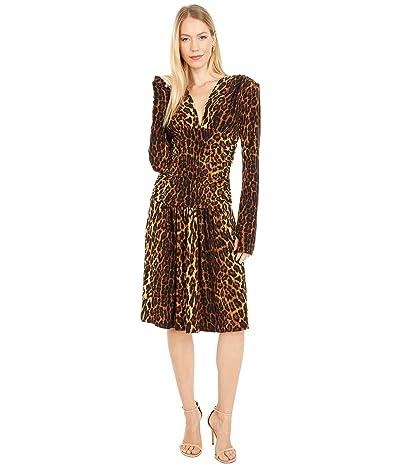 KAMALIKULTURE by Norma Kamali V-Neck Long Sleeve Shirred Waist Dress with Shoulder Pads Women