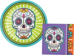 Day of The Dead Sugar Skull Party Pack: Appetizer/Desssert Bundle Includes Paper Plates and Napkins for 16 People