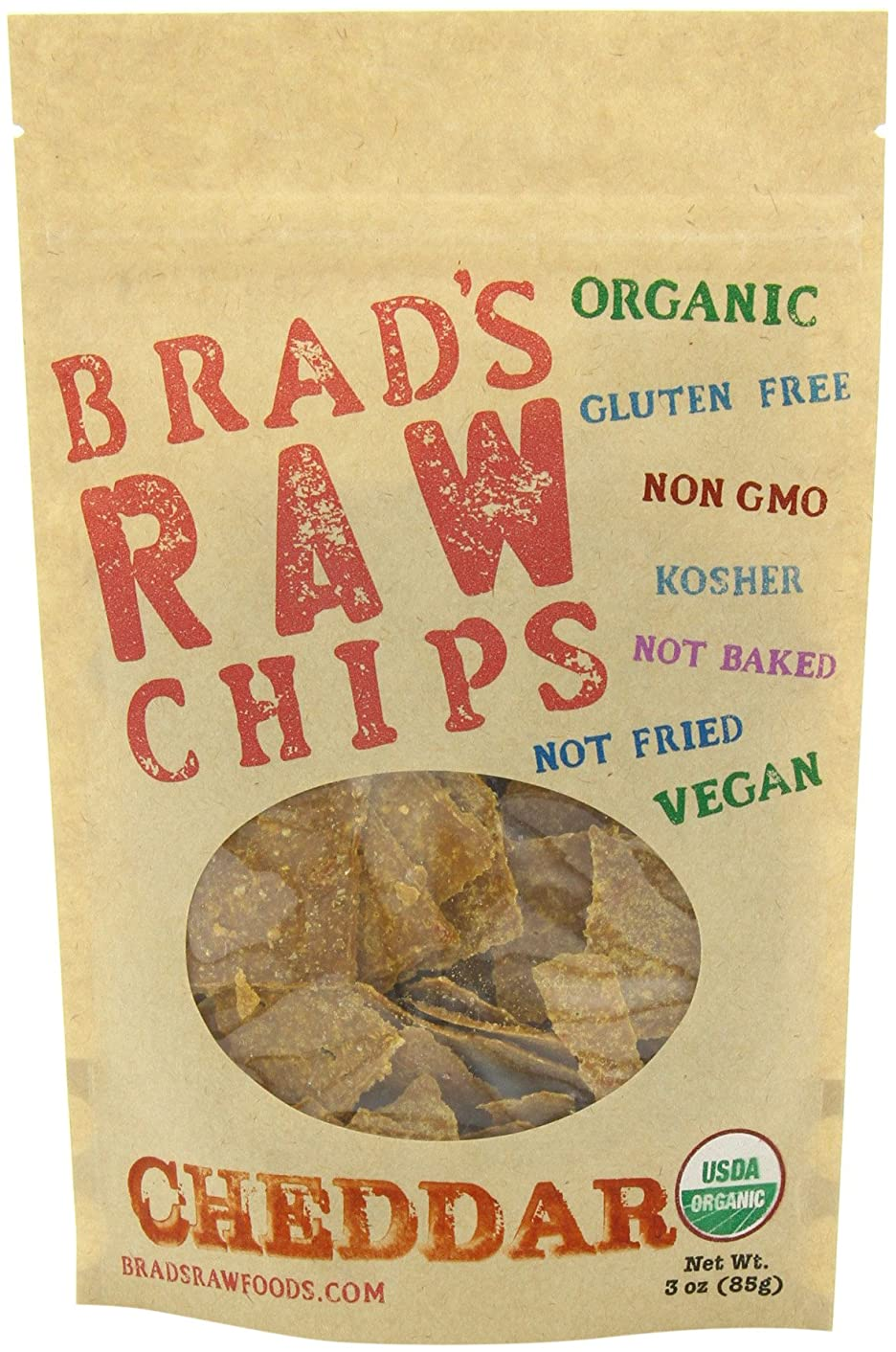 3oz Cheddar Flavor - Famous Brads Raw Chips - Vegan, Gluten Free, Natural, Healthy Snack