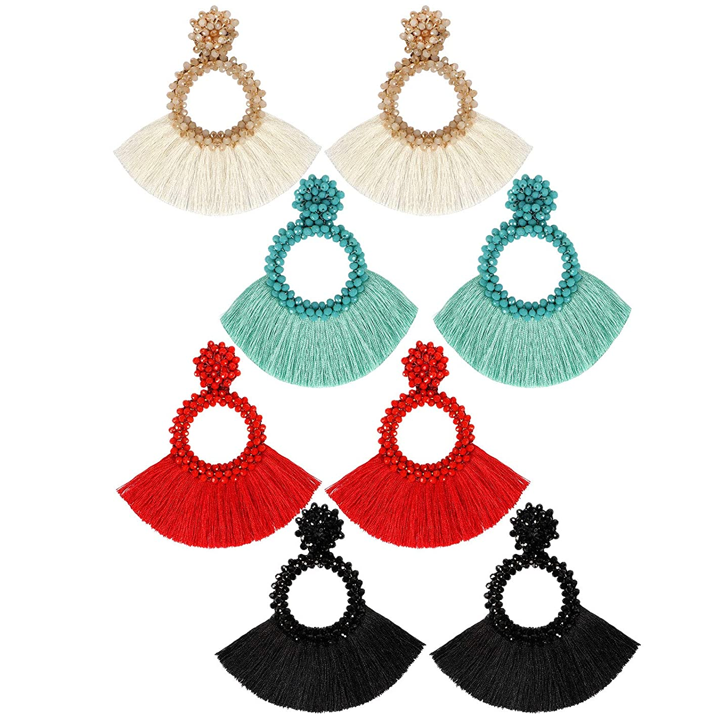 Bascolor Beaded Tassel Earrings for Women Hoop Fringe Boho Lightweight Statement Drop Dangle Earrings for Lady Girls Jewelry