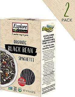 EXPLORE CUISINE Organic Black Bean Spaghetti (2 Pack) - 8 oz - High Protein, Gluten Free Pasta, Easy to Make - USDA Certified Organic, Vegan, Kosher, Non GMO - 8 Total Servings