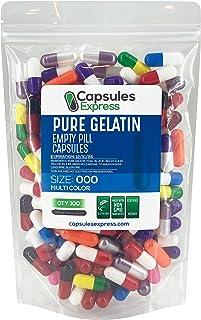 Capsules Express- Size 000 Multi-Colored Empty Gelatin Capsules - Kosher - Pure Gelatin Pill Capsule - DIY Powder Filling ...